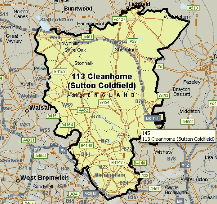 Map of the Cleanhome Sutton Coldfield area